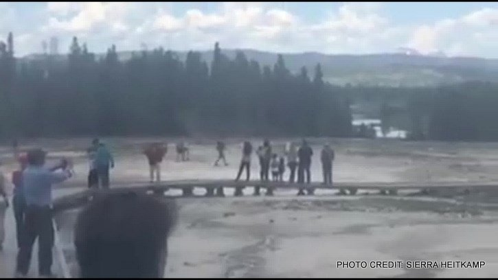 While walking the around the Grand Prismatic Spring trail, they noticed six people walking off in the distance.