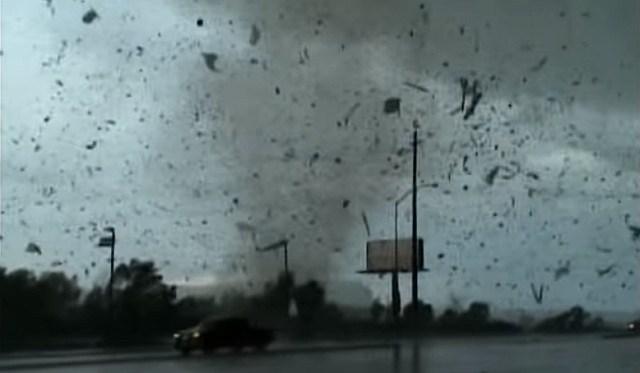 Tornado hits MetraPark Arena in Billings, June 2010 (Screenshot from video taken by Dan Miller)
