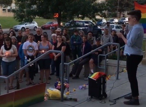Vigil in Bozeman for victims of the Orlando shooting (MTN News photo)