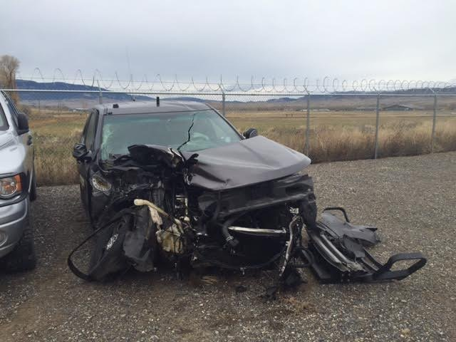 Park County Sheriff's vehicle that was hit by Conti's vehicle. (MTN image)
