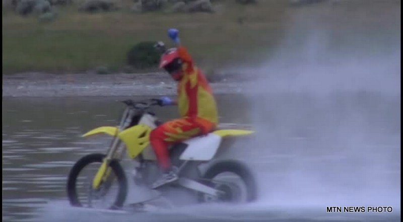 Capital High School Blake Becker went speeding across Canyon Ferry Lake on a dirt bike.