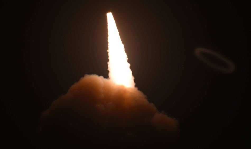 (FILE PHOTO) Unarmed ICBM launches during an operational test at Vandenberg Air Force Base in California. (U.S. Air Force photo by Michael Peterson)