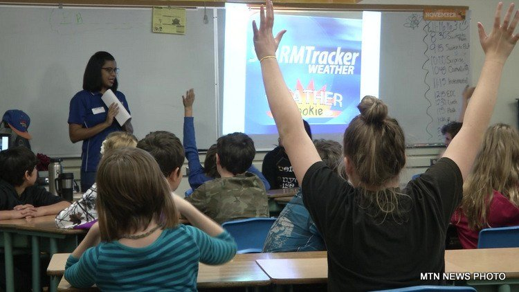"STORMTracker meteorologists Mike Rawlins and Michelle Morgan visited Ms. Rickman's class at West Elementary School on Wednesday for our ""Weather Rookie"" program."