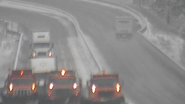 An image from the I-90 Ninemile cameras of the snowplows blocking traffic from the speeding suspect (MDT)
