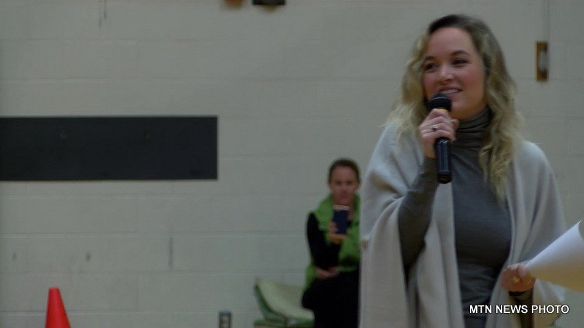 "Kelley Jakle,  the actress/singer who starred in the ""Pitch Perfect"" movies, visited East Middle School in Great Falls"