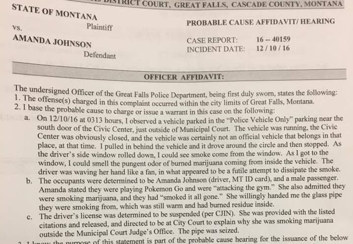 Great Falls woman cited for smoking marijuana in police parking spot