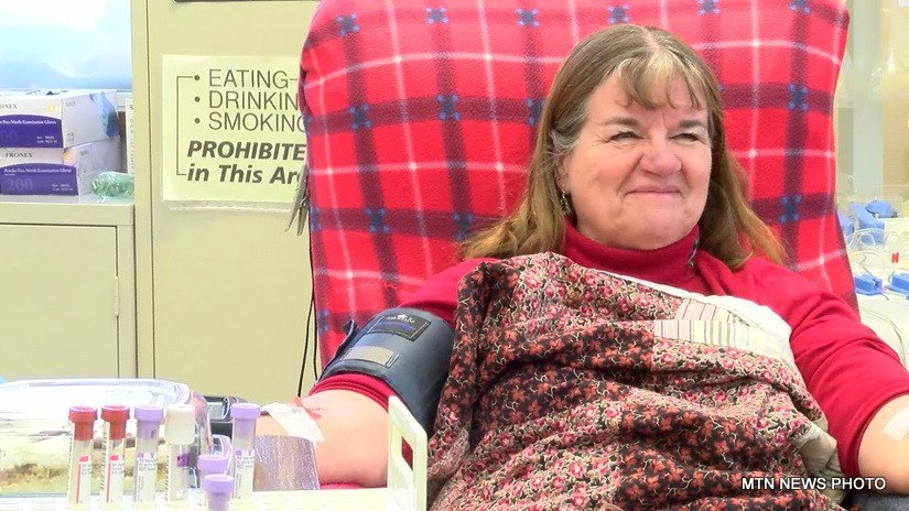 Johanna Mellinger hit a milestone on Monday in Great Falls -- her 400th donation of blood platelets to the American Red Cross.