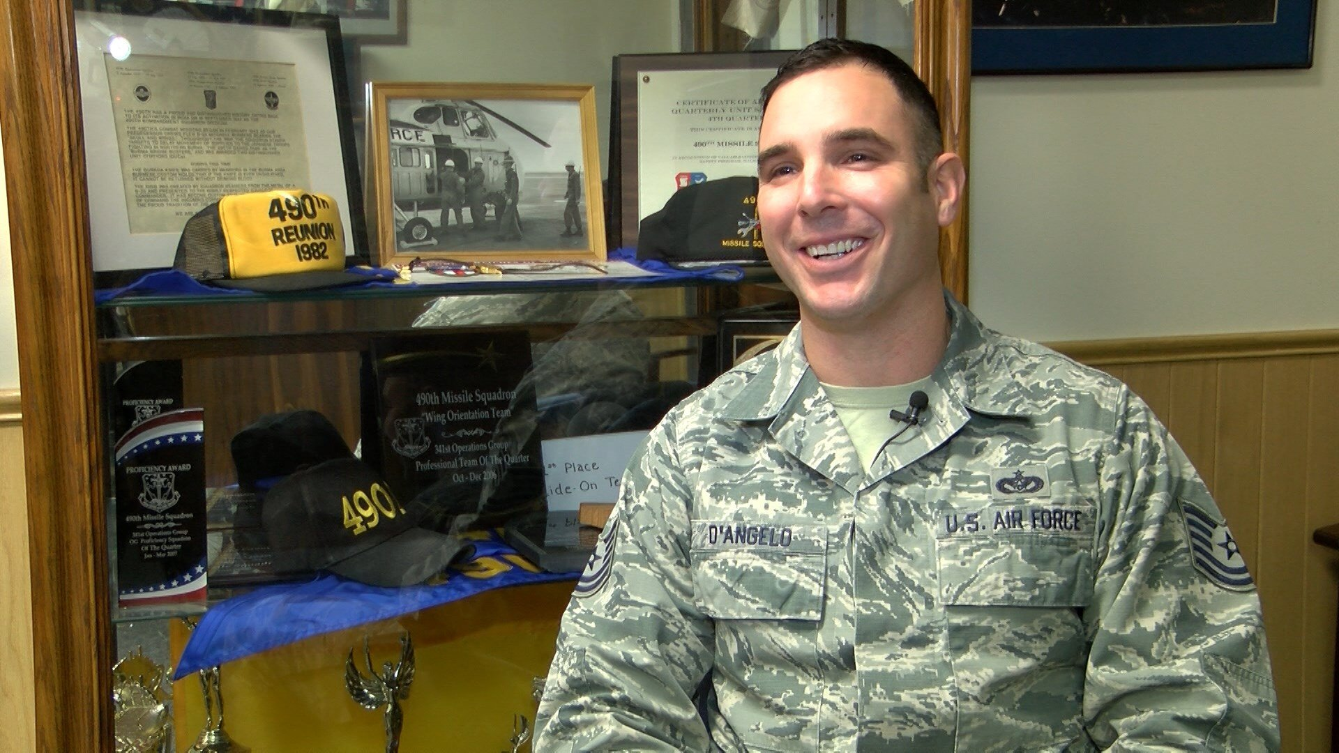 TSgt Christopher D'Angelo was awarded the Purple Heart in 2008.