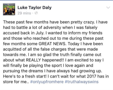 Daly recently posted on Facebook saying he had been wrongly accused and was acquitted of the charges.