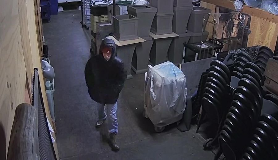 The man can be seen on surveillance video entering a storage area between 5 a.m. and 5:30 a.m. on Friday, December 30th.