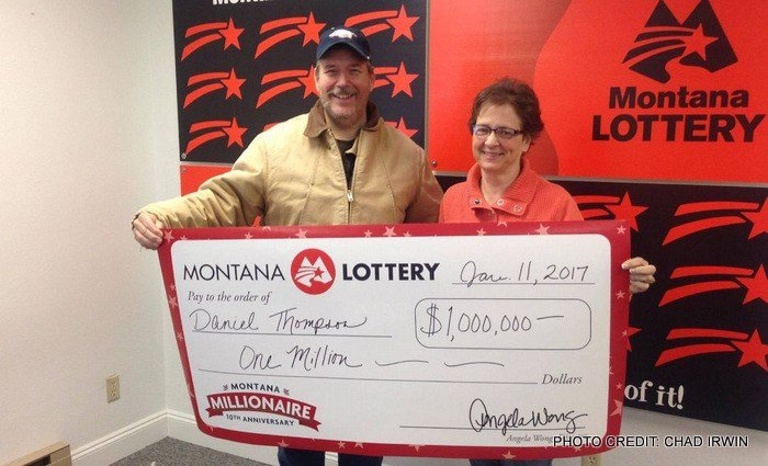 Dan and Marcia Thompson picked up their prize at Montana Lottery headquarters on Wednesday.