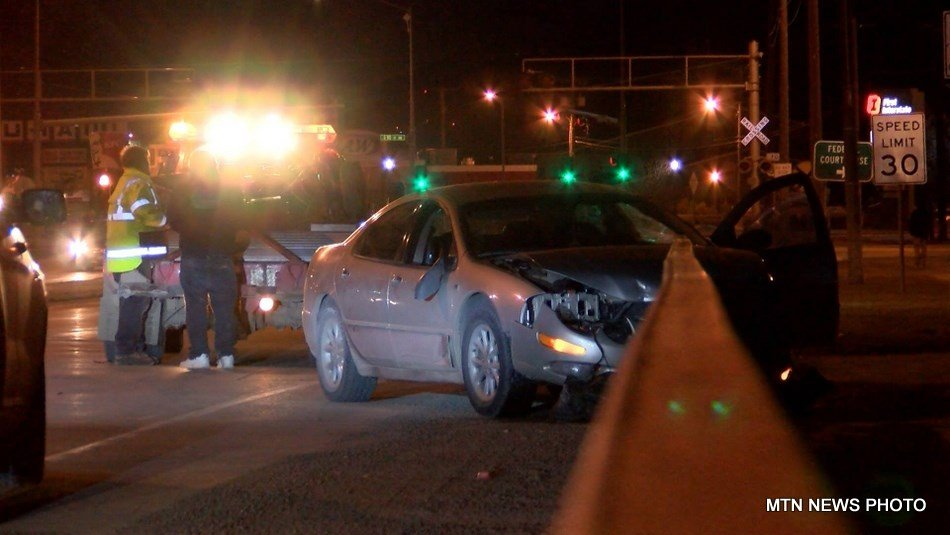 The driver lost control of the car, and crashed into the guardrail on the north side of the Central Avenue bridge.