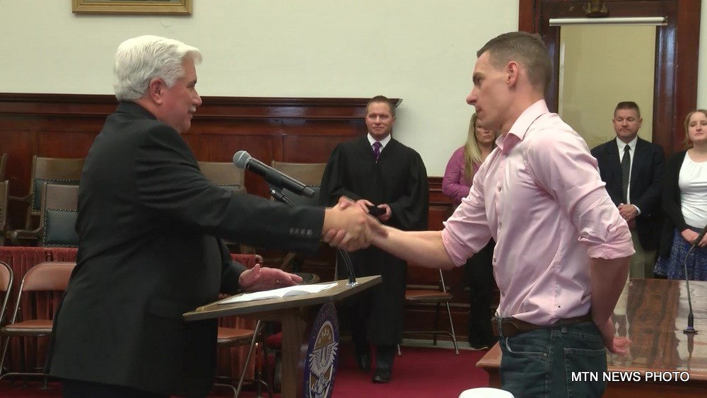 Josiah Badger, a combat veteran who served in Iraq, was sworn in as a Veterans Treatment Court mentor during the event.