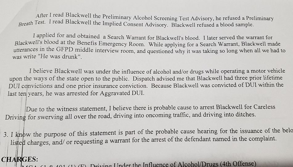"Court documents allege that Blackwell questioned why it was taking so long when ""all we had to do was write 'He was drunk.'"""