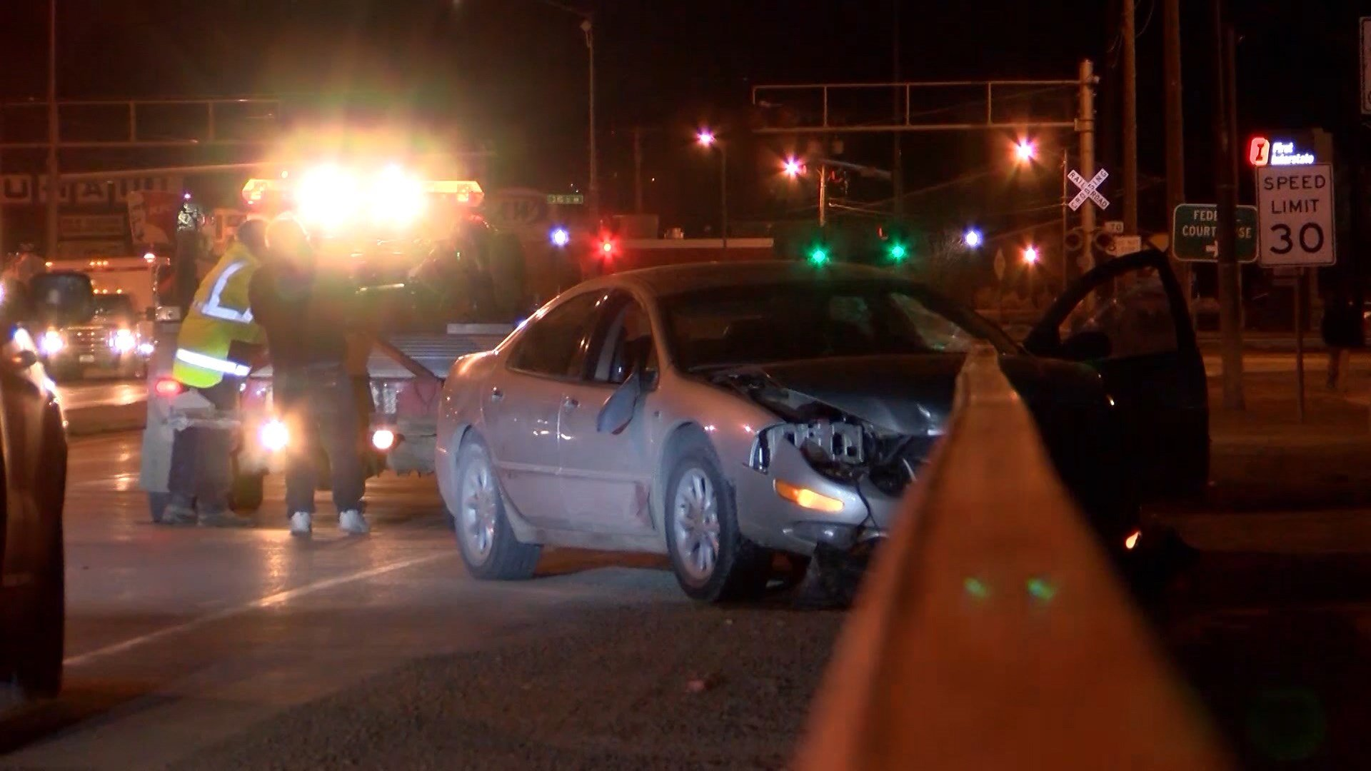 Daniels, Jr. eventually lost control of the car and crashed into the guardrail on the north side of the Central Ave. bridge, where the two attempted to flee on foot.
