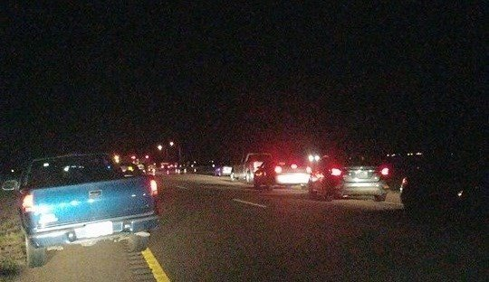 Northbound I-15 was briefly blocked as emergency personnel responded (Photo Credit: Chris Smyth)