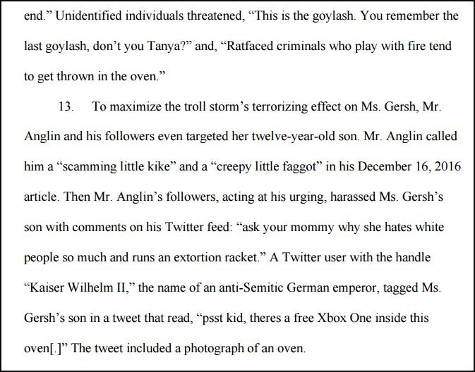 "The lawsuit filed by Gersh accuses Daily Stormer publisher Andrew Anglin of launching a terror campaign, also known as a ""troll storm,"" on his neo-Nazi website."