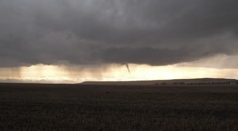 Cold-air funnel near Conrad; photo sent to KRTV by Charlene
