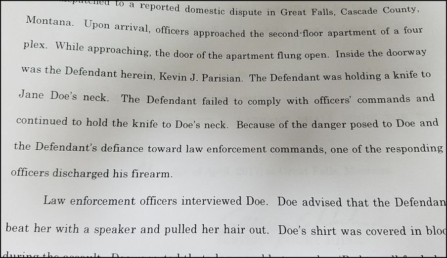 Court documents say that officers ordered Parisian to drop the knife, but he did not comply.