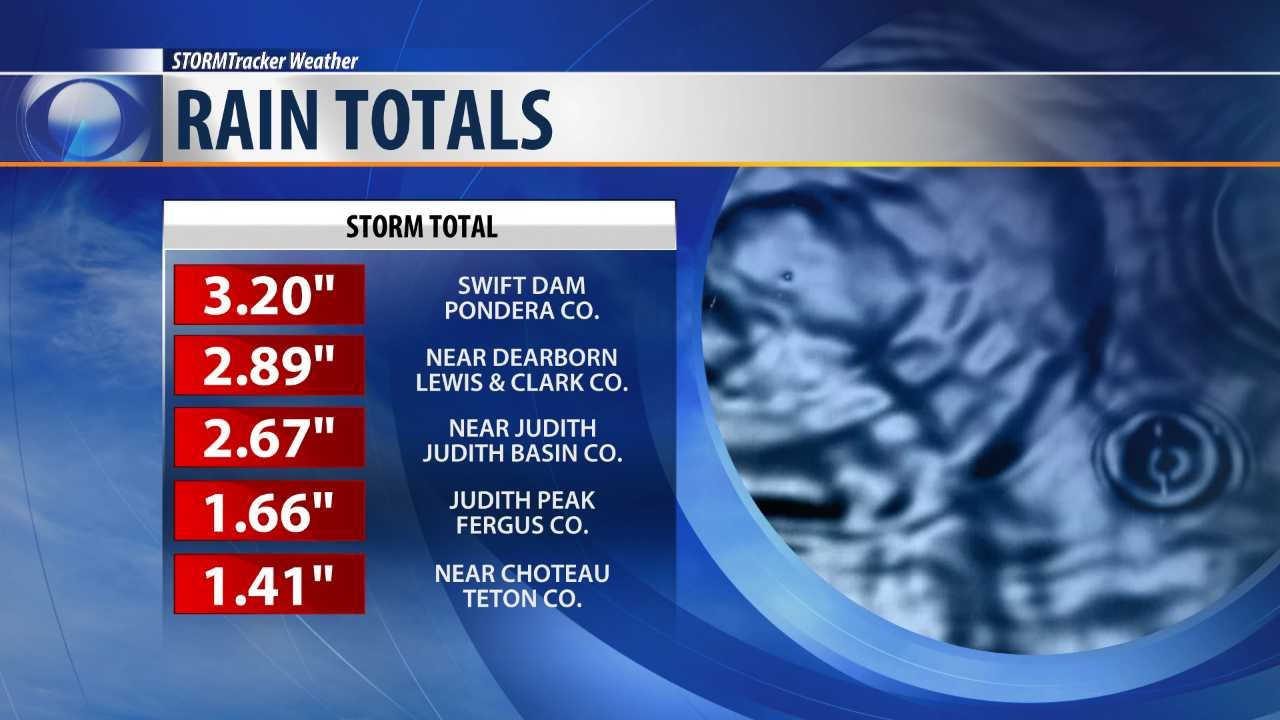 Top rain totals from Wednesday's spring storm