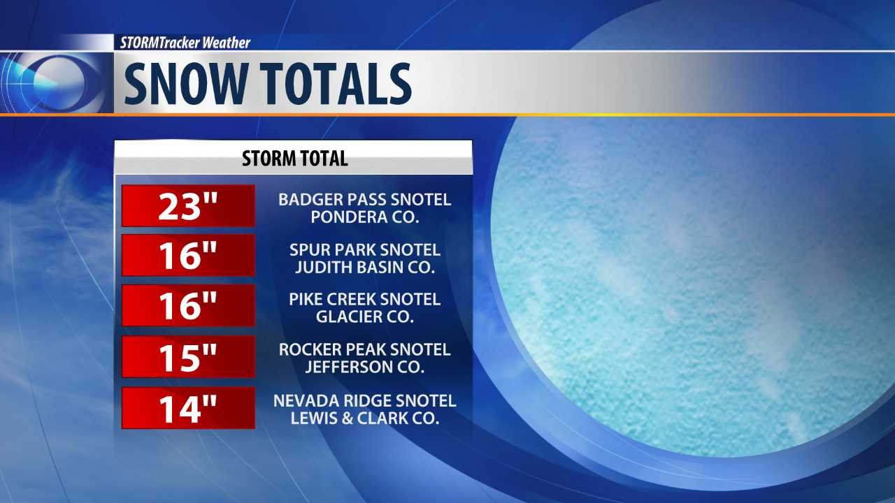 Top snow totals from Wednesday's spring storm