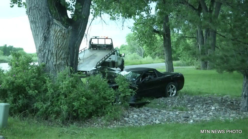 The driver was heading south when he crossed lanes and went off the road into a tree.