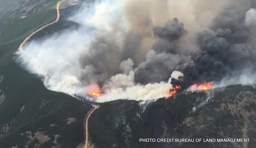 "The ""July Fire"" burning near Zortman and Landusky"