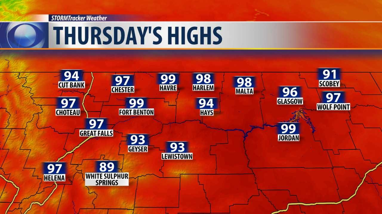 Forecast highs for Thursday