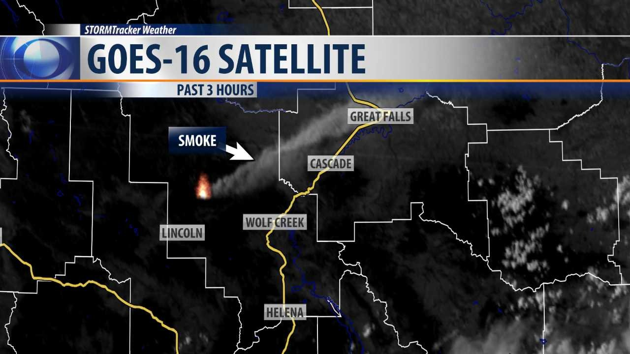 GOES-16 satellite image showing smoke plume from Park Creek Fire