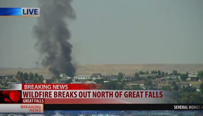 Emergency crews are battling a wildfire on the north side of Great Falls