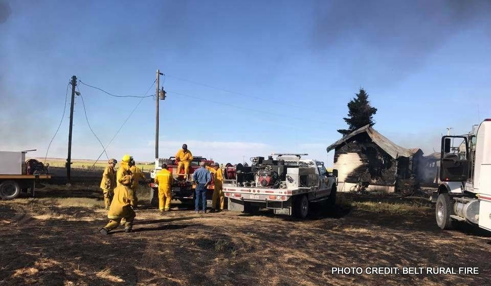 A house was destroyed by a fire near Highwood on Saturday.