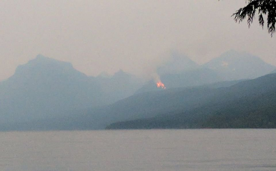 Fires are suspected or known in the Apgar Lookout area, the Nyack area, Sprague drainage, and Camas drainage. (Glacier National Park photo)