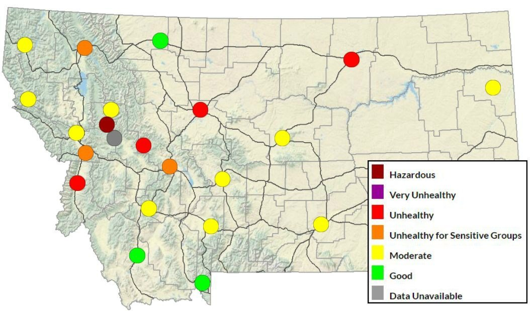 DEQ air quality map on Tuesday, September 12