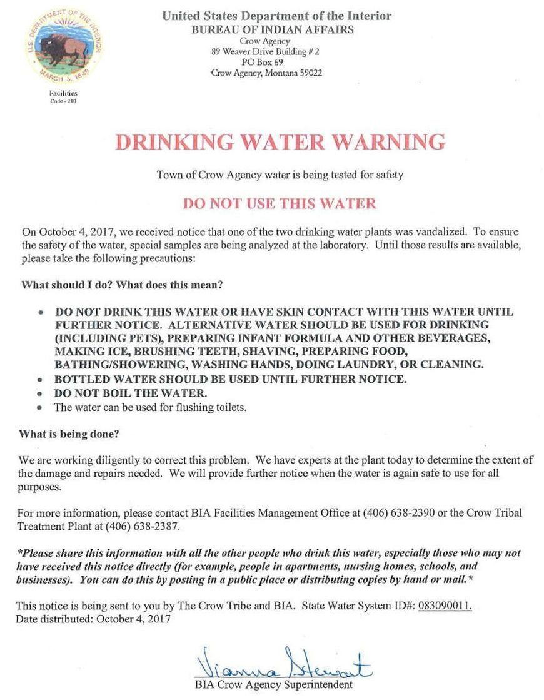 Crow Water advisory