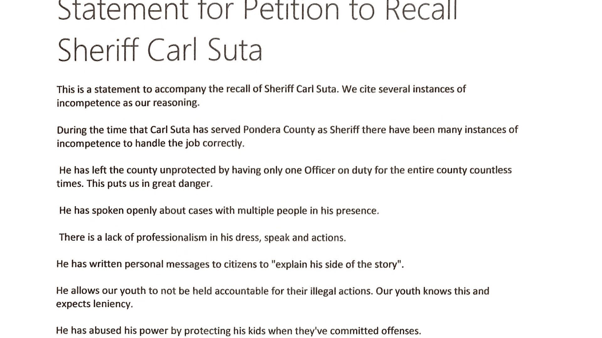 The petition's accompanying statement alleges several instances of Suta being incompetent.