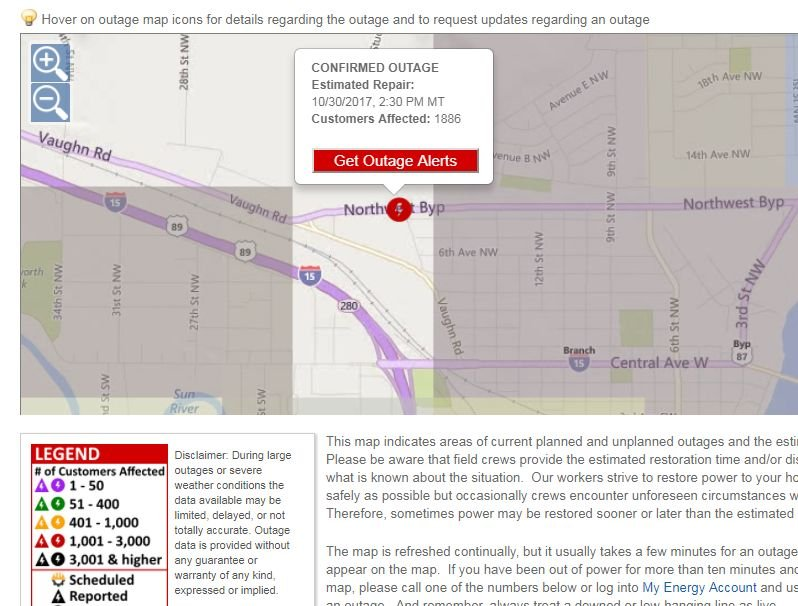 Screenshot of NorthWestern Energy outage map