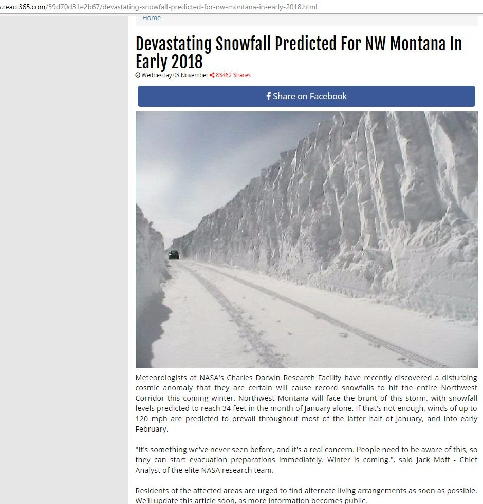 While Montana is sure to get snow, and experience gusty winds - as it does every year - the article is 100% fake.