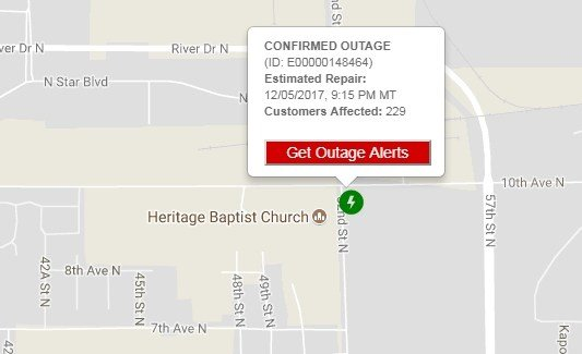 """Screenshot from NorthWestern Energy """"outage map"""" site"""