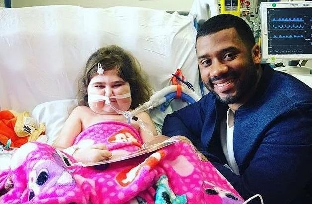 Daisy was visited by Seahawks star Russell Wilson while she was receiving treatment in Seattle