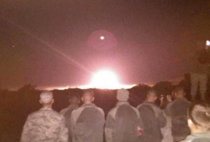 "Photo from Colonel Tom Wilcox, 341st Missile Wing Commander: ""Minuteman III ignition...GT-215 Test Launch Vandenberg AFB CA"""