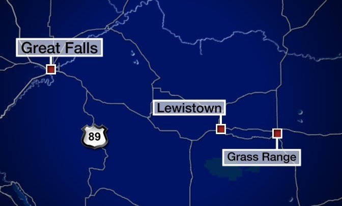 It happened near mile marker 110 on US Highway 87, near Grass Range (MTN News graphic)