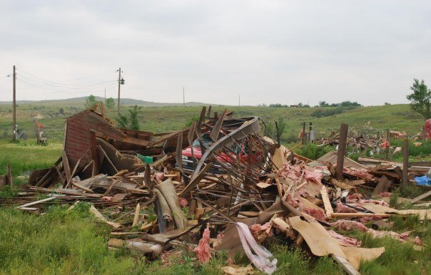 Damage from EF-1 tornado in eastern Montana (Photo: NWS)