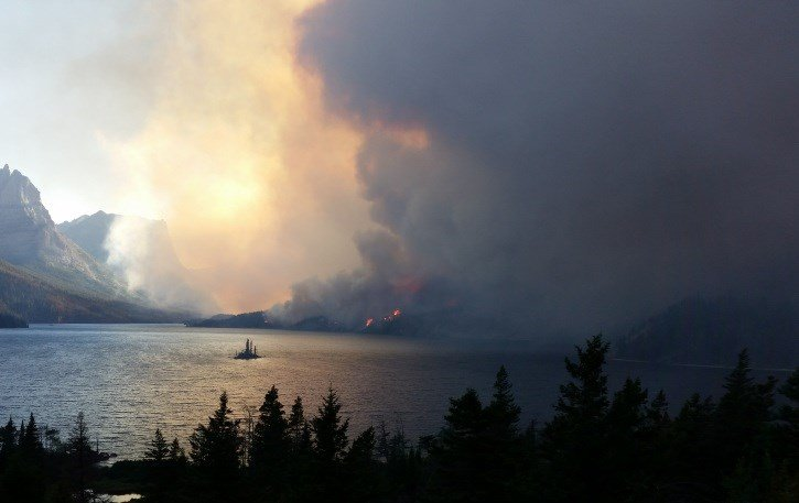 Fire burning in Glacier national Park (Photo by Robert DesRosier)
