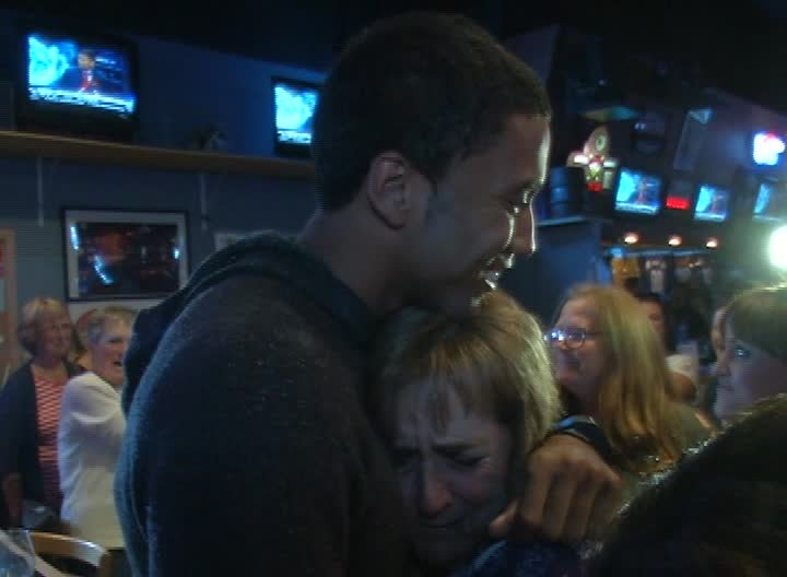 Josh Huestis celebrating at the Sting in Great Falls on NBA Draft Night 2014 (MTN News photo)