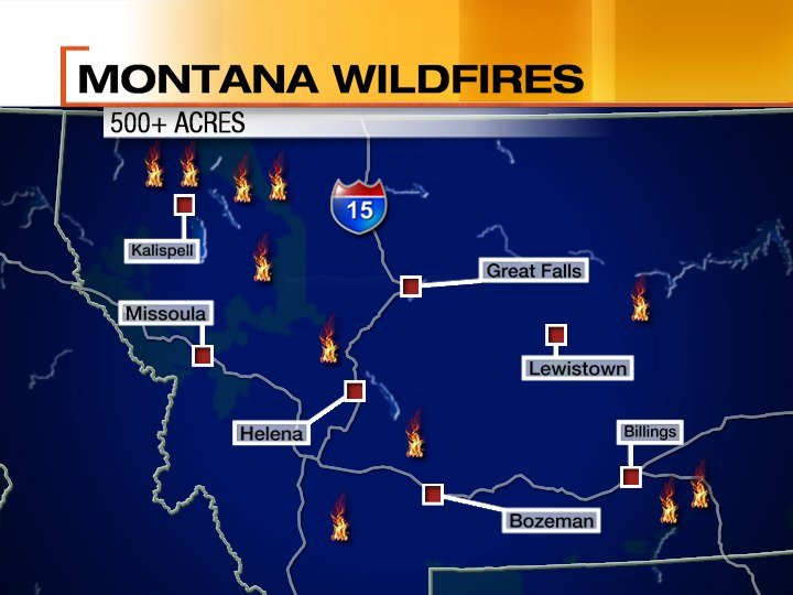 Large fires in Montana as of August 17th