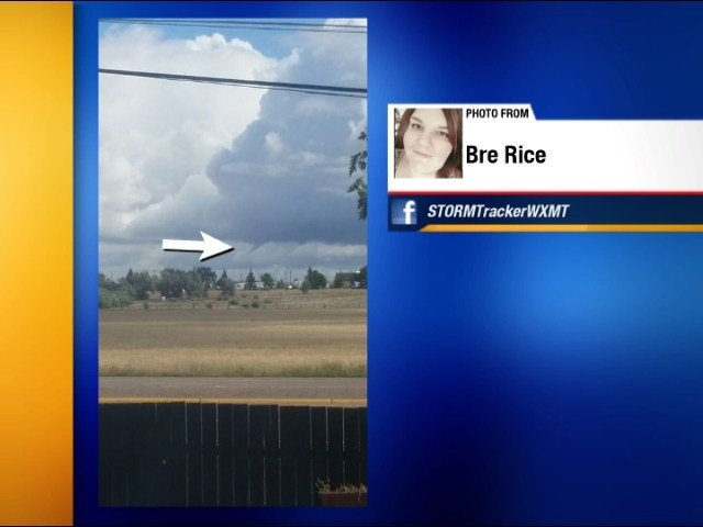 Cold air funnel spotted by Bre Rice on Tuesday