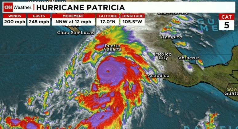 Hurricane Patricia is the strongest hurricane ever recorded by the U.S. National Hurricane Center and it's barreling toward Mexico's Pacific coast.