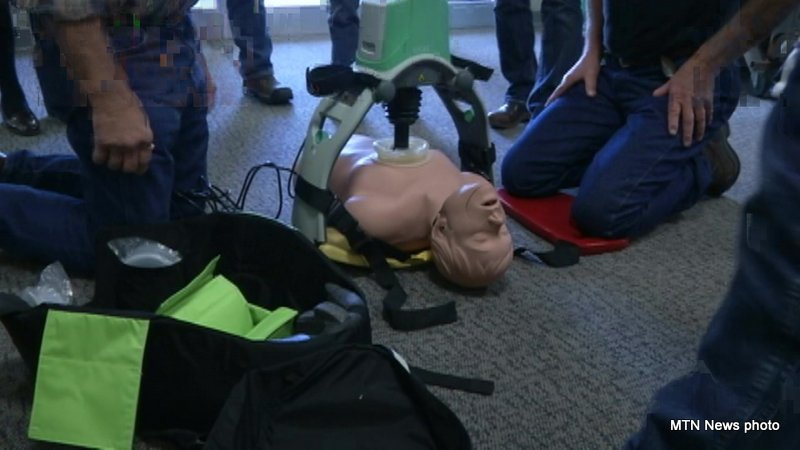 On Thursday 33 ambulance and hospital teams from across the Golden Triangle were trained on the Lucas 2 chest compression device. (MTN News photo)