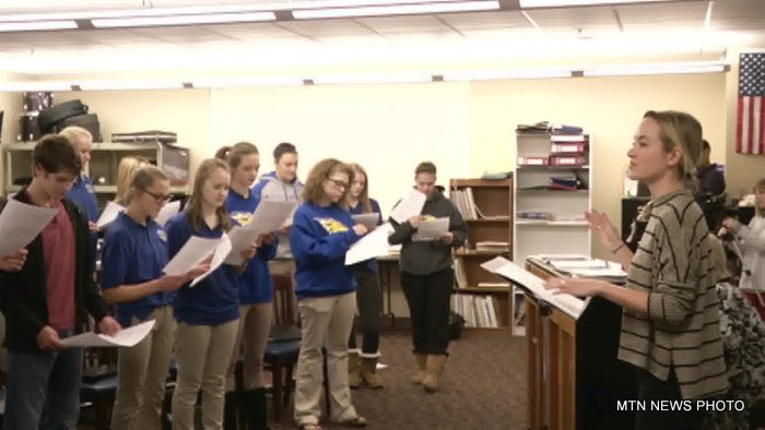 """Jakle taught the students a new arrangement for the Christmas classic """"Silent Night."""""""