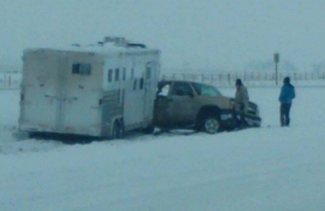 "Photo from Dylan Kumar, who said: ""I-15 south near cascade, highway patrol on site. Drive careful"""